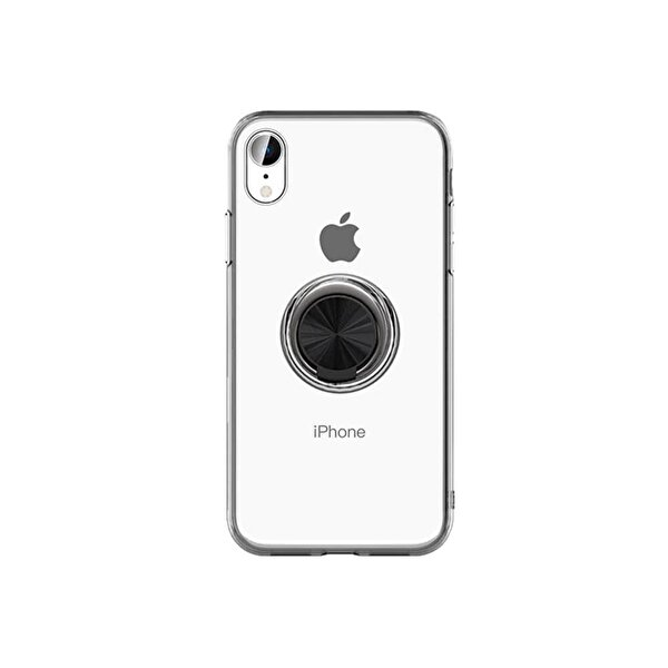 Preo My Case iPhone 11 Armour Rings Şeffaf/Siyah 3 in 1 Stand&Manyetik&Rings Telefon Kılıfı