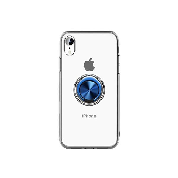 Preo My Case iPhone 11 Armur Rings Şeffaf/Mavi 3 in 1 Stand&Manyetik&Rings Telefon Kılıfı