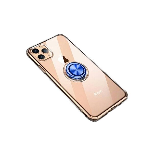 Preo My Case iPhone 11 Pro Armour Rings Şeffaf/Mavi 3 in 1 Stand& Manyetik Telefon Kılıfı