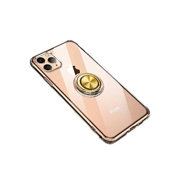Preo My Case iPhone 11 Pro Armour Rings Şeffaf/Gold 3 in 1 Stand&Manyetik Telefon Kılıfı