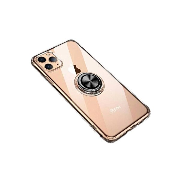 Preo My Case iPhone 11 Pro Max Armour Rings Şeffaf/Siyah 3 in 1 Stand&Manyetik Telefon Kılıfı