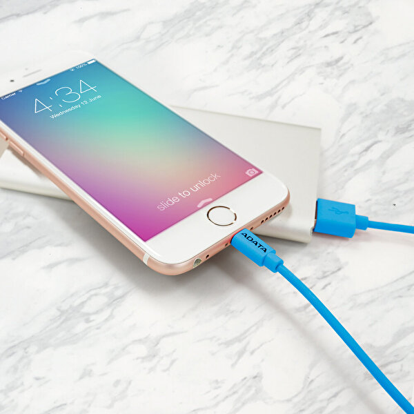 Adata 1M Lightning MFI Hızlı Şarj Kablosu Plastik Mavi (Apple)