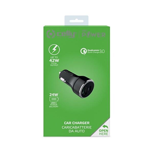 Celly Super Araç Şarj USB+TYPEC- 24W Siyah