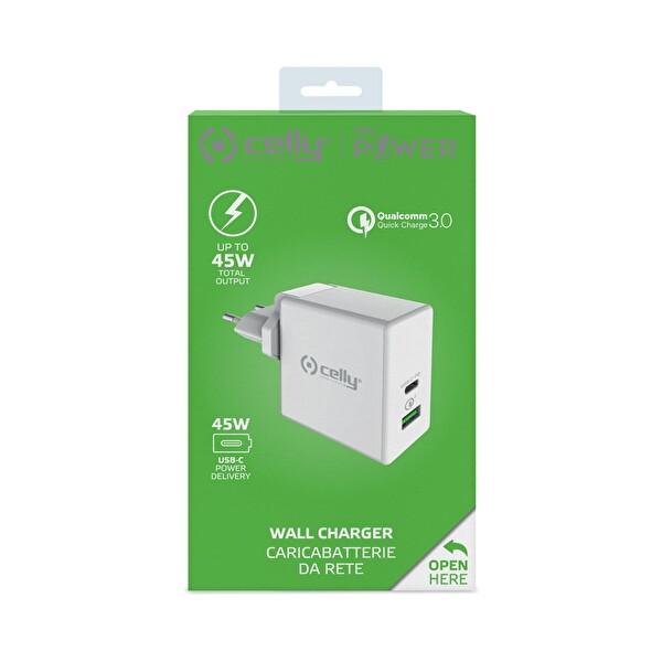 Celly Super Priz USB+TYPEC -45W BEYAZ