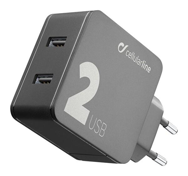 Cellularline Multipower 2 24W 2 Çıkışlı Hızlı Seyahat Şarjı ACHUSB224WK