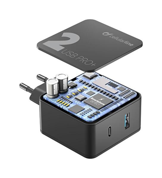 Cellularline Multipower 2 Pro+ 36W 2 Çıkışlı Hızlı Seyahat Şarjı ACHUSB2QCPD36WK