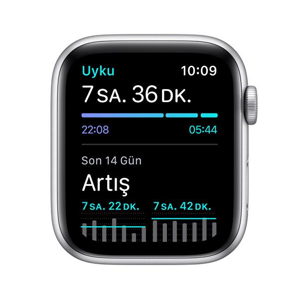 Apple Watch Nike SE 44mm Silver Alüminyum Kasa ve Siyah Spor Kordon MYYH2TU/A