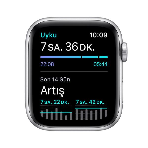 Apple Watch SE 44MM Gümüş Alüminyum Kasa Beyaz Spor Kordon MYDQ2TU/A