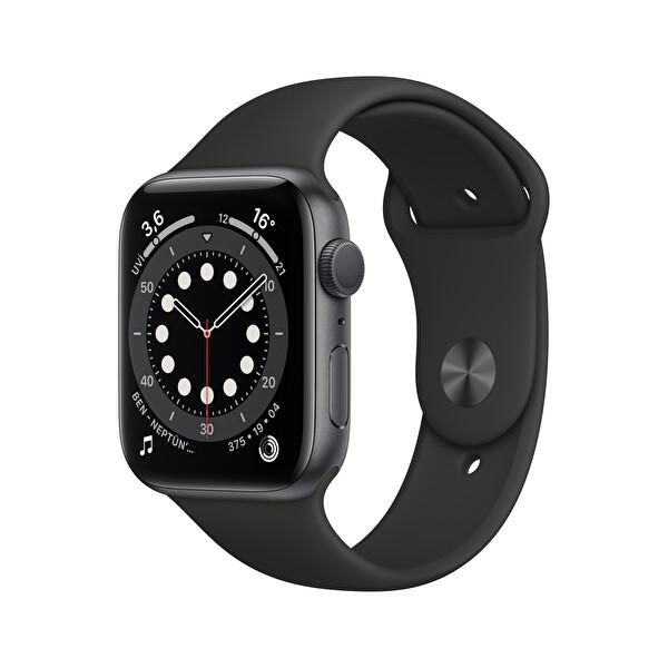 Apple Watch Seri 6 44mm Space Gray Alüminyum Kasa ve Siyah Spor Kordon M00H3TU/A