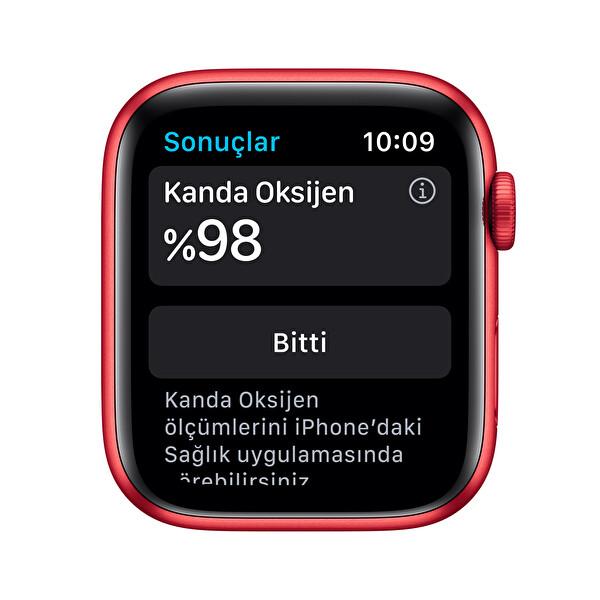 Apple Watch Seri 6 44mm Kırmızı Alüminyum Kasa ve Kırmızı Spor Kordon M00M3TU/A
