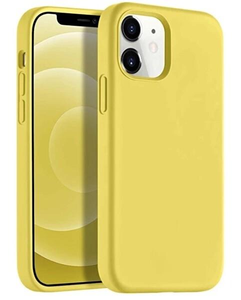 """Preo My Case Nano iPhone 12 Mini 5,4"""" Silikon Telefon Kılıfı Limon Sarısı"""