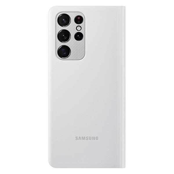 Samsung Galaxy S21 Ultra Akıllı Led View Telefon Kılıfı Açık Gri