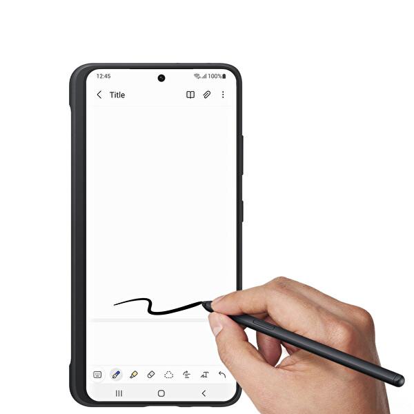 Samsung Galaxy S21 Ultra S Pen Kalemli Silikon Telefon Kılıfı Siyah