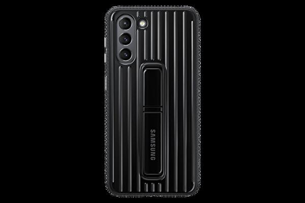 Samsung Galaxy S21 Koruyucu Stant Telefon Kılıfı Siyah