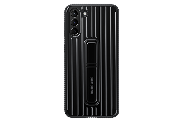 Samsung Galaxy S21+ Koruyucu Stant Telefon Kılıfı Siyah