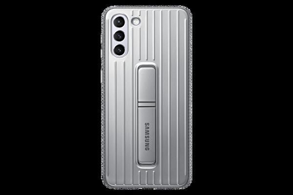 Samsung Galaxy S21+ Koruyucu Stant Telefon Kılıfı Açık Gri