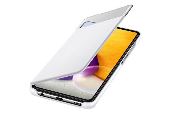 Samsung Galaxy A72 Uyumlu S View Cüzdan Kılıf Beyaz